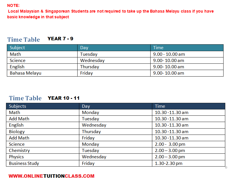 IGCSE Time Table